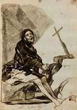 <p>Fotografía de 'Arepentimiento' de Goya, divulgado el 27 de mayo del 2008 por Christie's. Tres dibujos del pintor español Francisco de Goya que se consideraron perdidos durante 130 años saldrán a subasta en julio en Londres y se espera que su precio llegue hasta 3 millones de libras esterlinas (6 millones de dólares). Los tres dibujos, 'Brujas y mujeres', 'El alguacil Lampiños, al que metieron en el cuerpo de un rocín muerto' y 'Arrepentimiento' (en la foto), fueron exhibidos en público por última vez en 1877, en una venta de dibujos de Goya en París. Photo by Reuters (Handout)</p>
