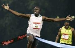 <p>Recordista mundial não sabe se correrá 100m em Pequim. O recordista mundial dos 100 metros rasos, o jamaicano Usain Bolt, vai ouvir o conselho de seu treinador antes de tomar a decisão sobre disputar ou não duas provas individuais nos Jogos Olímpicos de Pequim. 31 de maio. Photo by Gary Hershorn</p>