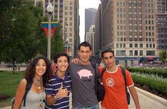 """<p>The cast of """"On the Road in America"""" pose for a photo in Chicago's Millennium Park in an August 2006 photo. The series follows four Arabs in their 20s traveling across the United States, and is centered on topical debates about U.S. ties to Israel, differences among Arab cultures, and American history. REUTERS/Sundance Channel/Handout</p>"""