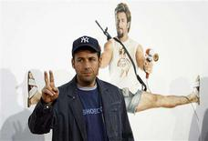 "<p>Director and cast member Adam Sandler gestures at the movie premiere of ""You Don't Mess with the Zohan"" at the Grauman's Chinese theatre in Hollywood, California in this May 28, 2008 file photograph. REUTERS/Mario Anzuoni</p>"
