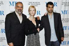 """<p>Actors Manoj Sood (L), Sheila McCarthy, and Zaib Shaikh (R) arrive for a screening of the CBC Television show """"Little Mosque on the Prairie"""" at the Museum of Television and Radio in New York, May 17, 2007. REUTERS/Keith Bedford</p>"""