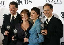"<p>(L-R) Paulo Szot, winner of the award for Best Performance by a Leading Actor in a Musical ""South Pacific,"" Patti LuPone, winner of the award for Best Performance by a Leading Actress in a Musical for ""Gypsy,"" Deanna Dunagan, winner of the award for Best Performance by a Leading Actress in a Play for ""August: Osage County"" and Mark Rylance, winner of the award for Best Performance by a Leading Actor in a Play for ""Boeing-Boeing"" pose backstage at the 62nd Annual Tony Awards in New York June 15, 2008. REUTERS/Lucas Jackson</p>"