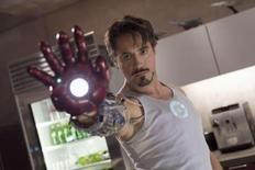 """<p>Robert Downey Jr. is shown in this undated publicity photo released to Reuters April 23, 2008 in a scene from Paramount Pictures upcoming film """"Iron Man"""". REUTERS/Zade Rosenthal/Paramount Pictures/Handout</p>"""