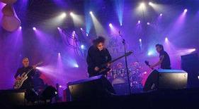 "<p>Robert Smith (C), Porl Thompson (L), Simon Gallup and drummer Jason Cooper of the British group ""The Cure"" perform on stage at the MTV Winter Festival in Valencia, in this file photo from March 5, 2008. REUTERS/Heino Kalis</p>"