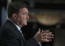 <p>Finance Minister Jim Flaherty gestures during a speech at the International Economic Forum of the Americas in Montreal, June 9, 2008. REUTERS/Christinne Muschi</p>