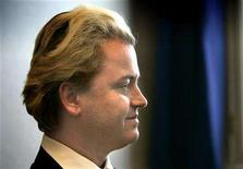 <p>Dutch right wing politician Geert Wilders speaks during an interview with Reuters Television inside the Dutch Parliament in The Hague March 3, 2005. REUTERS/Jerry Lampen</p>