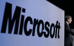 <p>Insegna Microsoft in una sala conferenze a Tokyo, il 7 maggio 2008. REUTERS/Yuriko Nakao (Giappone)</p>