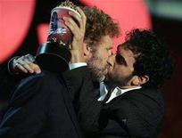 <p>Winners of the best movie kiss, Will Ferrell (L) and Sacha Baron Cohen in 'Talladega Nights', kiss at the 2007 MTV Movie Awards. Cohen will star as detective Sherlock Holmes and Ferrell as his loyal assistant, Watson, in an upcoming film comedy inspired by tales of the fictional English sleuth, Columbia Pictures said on Wednesday. REUTERS/Fred Prouser</p>