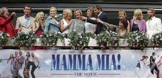<p>Cast and members of ABBA appear together at the premiere of the motion picture version of the musical 'Mamma Mia' in Stockholm July 4, 2008. From left to right are: ABBA's Benny Andersson, Pierce Brosnan, Amanda Seyfried, Meryl Streep, Abba members Agnetha Faltskog and Anni-Frid Lyngstad, Christine Baranski, Colin Firth, screenwriter Catherine Johnson (pointing), director Phyllida Lloyd, producer Judy Craymer and ABBA member Bjorn Ulvaeus. REUTERS/Bob Strong</p>