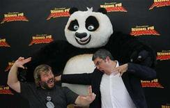 """<p>Actor Jack Black (L) and Spanish voice actor Florentino Perez pose during a photocall to promote their animated film """"Kung Fu Panda"""" in Madrid June 24, 2008. REUTERS/Susana Vera</p>"""