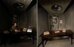 <p>A combination of two images shows the mock desk of Adolf Hitler on July 3, 2008 (L) and after a 41-year-old man tore the head off from the controversial waxwork figure on the opening day of Berlin's Madame Tussauds July 5, 2008. REUTERS/Wolfgang Rattay/Tobias Schwarz/Files</p>