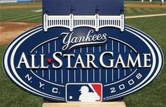 <p>The New York Yankees unveiled the 2008 All-Star Game logo at Yankee Stadium before their MLB American League baseball game with the Chicago White Sox in New York, July 31, 2007. REUTERS/Ray Stubblebine</p>