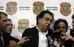 <p>Salvatore Cacciola, o mais procurado criminoso do colarinho branco no Brasil, fala durante coletiva na sede da Polícia Federal no Rio de Janeiro. Ele acaba de ser extraditado de Mônaco. Foto de 17 de julho de 2008. Photo by Bruno Domingos</p>