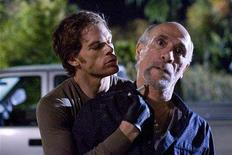 """<p>Actor Michael C. Hall (L) is shown in a scene from his Showtime network drama series """"Dexter"""" in this undated publicity photo released to Reuters June 17, 2008. Hall, nominated Thursday for best lead actor in a drama series for the 60th annual Primetime Emmy Awards, is one of six nominees who play anti-heroes, morally corrupt or emotionally damaged characters. REUTERS/Peter Iovino/Showtime Network/Handout</p>"""