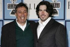 """<p>""""Juno"""" director Jason Reitman (R) and his father, director Ivan Reitman arrive at the 2008 Film Independent's Spirit Awards in Santa Monica, California, February 23, 2008. REUTERS/Fred Prouser</p>"""