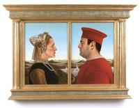 """<p>A painting of the lead actors in the hit television series """"The Sopranos"""" in the pose of the Duke and Duchess of Urbino painted by Federico Castelluccio is seen in this undated handout photo released July 18, 2008. Actors James Gandolfini and Edie Falco, who played Tony and Carmela Soprano in the HBO series that ran from 1999 to 2007, stare at each other in profile just as the Duke and Duchess of Urbino do in Piero della Francesca's 15th Century original which has sold for $175,000. It was painted by Sopranos supporting actor Federico Castelluccio, who played the Italian hit man Furio Giunta who fell in love with Carmela, the mob boss' wife. REUTERS/Handout</p>"""