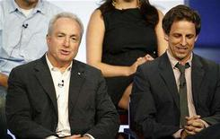 """<p>Seth Meyers (R), star and head writer of NBC's """"Saturday Night Live"""", and the show's executive producer Lorne Michaels take part in a panel discussion at the NBC Universal summer 2008 press tour in Beverly Hills, California July 20, 2008. REUTERS/Fred Prouser</p>"""