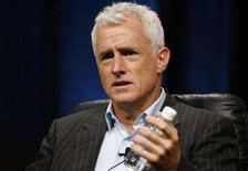"""<p>Cast member John Slattery gestures during a panel for the AMC television series """"Mad Men"""" at the Television Critics Association 2008 summer press tour in Beverly Hills, California July 9, 2008. REUTERS/Mario Anzuoni</p>"""