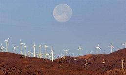 <p>The full moon sets behind a wind farm in the Mojave Desert in California, in this January 8, 2004 file photo. REUTERS/Toby Melville/Files</p>