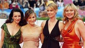 "<p>Actresses (L-R) Kristin Davis, Sarah Jessica Parker, Cynthia Nixon and Kim Cattrall arrive for the German premiere of ""Sex And The City: The Movie"" at a cinema in Berlin May 15, 2008. REUTERS/Fabrizio Bensch</p>"