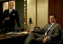 """<p>John Slattery and Jon Hamm in a promotional image for AMC's first original weekly drama series """"Mad Men"""". REUTERS/AMC/Handout</p>"""