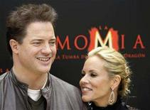 """<p>Actors Brendan Fraser (L) and Maria Bello pose during a photocall to promote the movie """"The Mummy: Tomb of the Dragon Emperor"""" in Madrid July 21, 2008. REUTERS/Susana Vera</p>"""