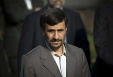 <p>Iran's President Mahmoud Ahmadinejad arrives at the presidential office to attend a welcoming ceremony for his Syrian counterpart Bashar al-Assad in Tehran, August 2, 2008. REUTERS/Morteza Nikoubazl</p>