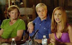 """<p>The stars of the first-ever live-action adaptation of """"Scooby Doo"""" from left Matthew Lillard, Freddie Prinze and Sarah Michelle Gellar answer questions during a news conference on set at the Warner Roadshow Studios on the Gold Coast May 4, 2001. REUTERS/HO Old</p>"""