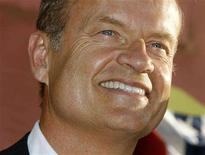 """<p>Kelsey Grammer, star of the film """"Swing Vote"""", poses at the film's premiere in Hollywood, July 24, 2008. REUTERS/Fred Prouser</p>"""