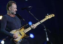 """<p>Sting, lead singer and bassist of the band, """"The Police"""" performs during the """"Rock in Rio"""" music festival in Arganda del Rey, near Madrid, July 5, 2008. REUTERS/Juan Medina</p>"""