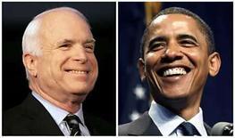 <p>Foto compuesta de los candidatos a la presidencia de Estados Unidos, los senadores John McCain (a la izquierda en la imagen) y Barack Obama, EEUU, 7 ago 2008. Santa política, Batman. Los candidatos a la presidencia de Estados Unidos John McCain y Barack Obama develaron sus íconos favoritos de la cultura pop, incluidos los superhéroes, con Mc Cain favoreciendo a Batman y Obama eligiendo a Spider-Man y Batman. (Foto compuesta) Photo by Rebecca Cook/Reuters</p>