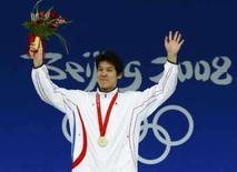 <p>Park Tae-hwan da Coréia do Sul ganhou o primeiro ouro olímpico da natação de seu país. Photo by David Gray</p>
