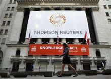 <p>The front of The New York Stock Exchange displays the new Thomson Reuters logo as the stock is traded for the first time in New York April 17, 2008. REUTERS/Brendan McDermid</p>
