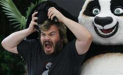 "<p>Jack Black poses during a photocall to promote his animated film ""Kung Fu Panda"" in Madrid June 24, 2008. REUTERS/Susana Vera</p>"