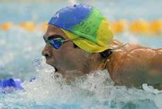 <p>Kaio Almeida nada eliminatória do borboleta nos Jogos de Pequim. O brasileiro avançou para as semifinais dos 100m borboleta, nesta quinta-feira. Photo by Kai Pfaffenbach</p>