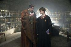"""<p>Actors Jim Broadbent (L) and Daniel Radcliffe are shown in a scene from """"Harry Potter and the Half-Blood Prince"""" in this undated publicity photo released to Reuters August 14, 2008. The release date of the sixth Harry Potter movie has been pushed back on Thursday to July 2009 from its original date of November 2008, movie studio Warner Bros. said. REUTERS/Jaap Buitendijk/Warner Bros. Pictures/Handout</p>"""