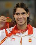 <p>Il tennista spagnolo Rafael Nadal, oro nel singolo a Pechino. REUTERS/Toby Melville</p>