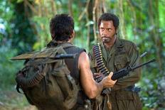 "<p>Actor Robert Downey Jr. (R) is shown wearing blackface in a scene with co-star Ben Stiller from the upcoming film ""Tropic Thunder"" in this undated publicity photo released to Reuters August 11, 2008. REUTERS/Merie Weismiller Wallace/Dreamworks LLC/Handout</p>"