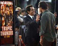 """<p>Cast member Ben Stiller (L) greets co-star Matthew McConaughey at the premiere of """"Tropic Thunder"""" at the Mann's Village theatre in Westwood, California August 11, 2008. REUTERS/Mario Anzuoni</p>"""