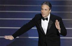 """<p>Host Jon Stewart delivers his monologue at the start of the 80th annual Academy Awards, the Oscars in Hollywood February 24, 2008. As he gets ready to preside over his third set of political conventions, """"Daily Show"""" host Stewart said that from the show's standpoint, it doesn't matter who wins the presidency in November. REUTERS/Gary Hershorn</p>"""