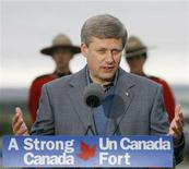 <p>Canadian Prime Minister Stephen Harper answers questions after delivering a speech announcing a new Polar class Arctic Icebreaker for the Canadian north to be named after former Prime Minister John G. Diefenbaker in Inuvik, Northwest Territories, August 28, 2008. REUTERS/Todd Korol</p>