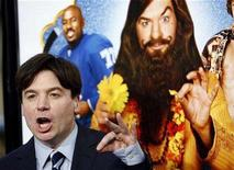 """<p>Mike Myers gestures at the premiere of """"The Love Guru"""" at the Grauman's Chinese theatre in Hollywood, California June 11, 2008. The movie opens in the U.S. on June 20. REUTERS/Mario Anzuoni</p>"""