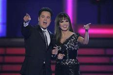 <p>Brother and sister duo, Donnie and Marie Osmond, host the Miss USA 2008 pageant at the Planet Hollywood hotel and casino in Las Vegas, Nevada April 11, 2008. REUTERS/Steve Marcus</p>