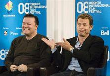 """<p>Actors Ricky Gervais (L) and Greg Kinnear attend the """"Ghost Town"""" news conference during the 33rd Toronto International Film Festival September 6, 2008. REUTERS/Mark Blinch</p>"""