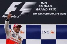 <p>Il pilota della McLaren Lewis Hamilton al Gran premio del Belgio. REUTERS/Francois Lenoir</p>