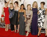 "<p>(L-R) Actresses Annette Bening, Candice Bergen, Debra Messing, Jada Pinkett Smith, Cloris Leachman, Meg Ryan and Eva Mendes, stars of the film ""The Women"", pose together at the film's premiere in Los Angeles September 4, 2008. REUTERS/Fred Prouser</p>"