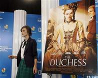"""<p>Actor Keira Knightley arrives for """"The Dutchess"""" news conference at the 33rd Toronto International Film Festival September 7, 2008. REUTERS/ Mike Cassese</p>"""