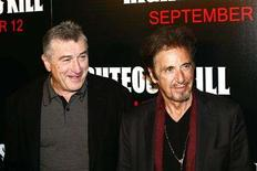 "<p>Actors Robert De Niro and Al Pacino (R) arrive for the premiere of the film ""Righteous Kill"" in New York September 10, 2008. REUTERS/Keith Bedford</p>"
