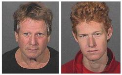<p>Actor Ryan O'Neal (L) and his son Redmond O'Neal are shown in a combination photograph of their booking mug shots released by the Los Angeles County Sheriff Department to Reuters September 17, 2008, following their arrest Wednesday for possession of a controlled substance. O'Neal and his son were each being held in jail in lieu of $10,000 bail, a sheriff's spokesperson said. REUTERS/Los Angeles County Sheriffs Department/Handout</p>