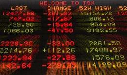 <p>A sign shows TSX information in Toronto September 15, 2008. REUTERS/Mark Blinch</p>